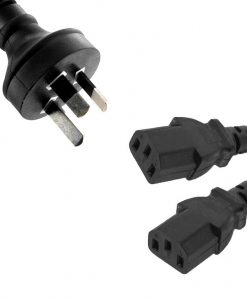 RC-3085AU-010-8Ware Power Cable 1m 3-Pin AU to 2 IEC C13 Male to Female