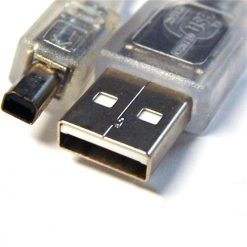 UC-2403ABN-8Ware USB 2.0 Cable 3m A to B 4-pin Mini Transparent Metal Sheath UL Approved