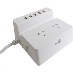 ACAC-SS2A25A-21-Aerocool ASA SS2A25A Power Board Charging Station w/2 AC Outlet Surge Protector/5 USB Port Fast Charger   LS