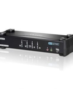 CS1784A-AT-U-Aten 4 Port USB Dual-Link DVI KVMP Switch with 7.1 Audio and USB 2.0 Hub - Cables Included