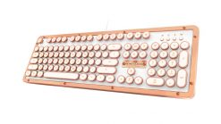 MK-RETRO-L-02-US-AZIO RETRO CLASSIC Vintage Typewriter USB Backlit Mechanical Keyboard - Alloy Leather Trim POSH (LS)