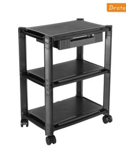 BT-AMS-5L-Brateck Height-Adjustable Smart Cart XL with Three-Shelves and Drawer  13''-32'' Monitors