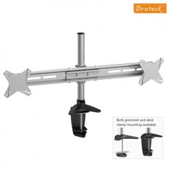 BT-LDT02-C02-Brateck  Dual Monitor Mount w/Arm & Desk Clamp VESA 75/100mm Up to 27""