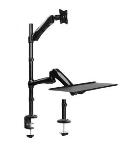 """DWS01-C02-Brateck Single Monitor Sit-Stand Workstation w/ Extension Arm for 13""""-27"""" LCD Monitors and Screen"""