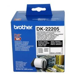 DK22205-White Continuous Paper Roll 62mmX30.48m