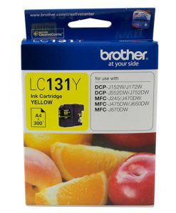 LC-131Y-Brother LC-131Y Yellow Ink Cartridge - to suit DCP-J152W/J172W/J552DW/J752DW/MFC-J245/J470DW/J475DW/J650DW/J870DW - up to 300 pages