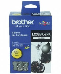 LC-38BK2PK-Brother LC-38BK Black Ink Cartridge Twin Pack - DCP-145C/165C/195C/375CW