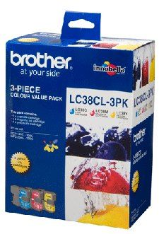 LC-38CL3PK-Brother LC-38 Colour Value Pack- 1X Cyan 1X Magenta 1X Yellow