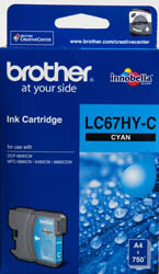LC-67HYC-Brother LC-67HYC Cyan High Yield Ink Cartridge- DCP-6690CW