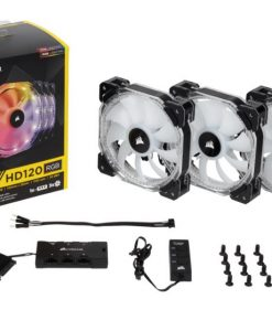 CO-9050067-WW-Corsair HD 120mm PWM RGB LED Fan 3 PACK  with Controller