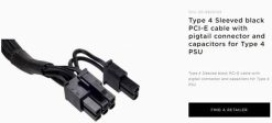CP-8920143-For Corsair CP-8920143 Type 4 Sleeved Black PCI-E Cable.