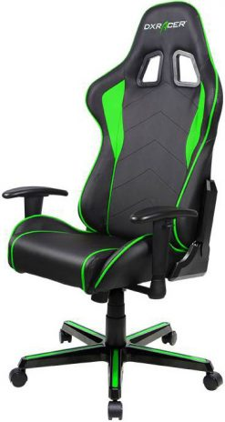 OH/FL08/NE-DXRacer Formula FL08 Gaming Chair Black & Green - Sparco Style Neck/Lumbar Support/NB Gaming/Office/Ergonomic Desk Chair/Black PU Leather