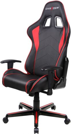 OH/FL08/NR-DXRacer Formula FL08 Gaming Chair  Black & Red  - Sparco Style Neck/Lumbar Support/NB Gaming/Office/Ergonomic Desk Chair/Black PU Leather