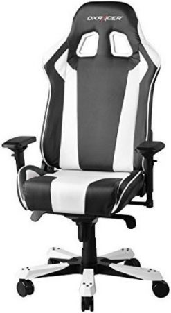 OH/KS06/NW-DXRacer King KS06 Gaming Chair Black & White - Neck/Lumbar Support/PU Leather/Large Size Seat/Office/Gaming Ergonomic/Head and Lumbar Support Pillows