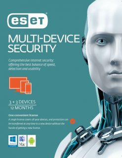 ES-EMDSR31Y-ESET Multi Device Security 3 Windows PCs or Macs or Linux + 3 Android Mobile Devices 1 Year Retail Download Card