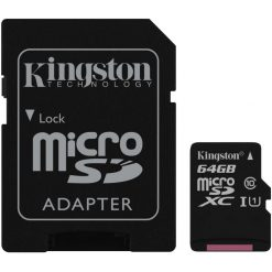 SDCS/64GB-Kingston 64GB MicroSD SDHC SDXC Class10 UHS-I Memory Card 80MB/s Read 10MB/s Write with standard SD adaptor ~FMK-SDC10G2-64 SDC10G2/64GBFR
