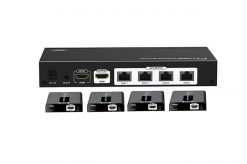 LKV714PRO-v2.0-Lenkeng HDMI splitter 4 ports  over cat6 4K@60Hz  up to 30m with IR. With 4 receivers