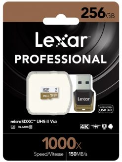 LSDMI256CBAP1000R-Lexar Professional 1000x 256GB microSDXC UHS-II Card - Up to 150MB/s Read/90MBs Write/ UHS-II Card Adapter/ U3 C10 V60/ 1080p HD/3D/4K Video