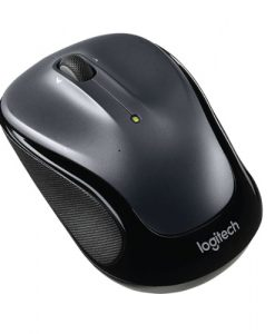 910-002325-Logitech M325 Wireless Mouse Black Grey Contoured design Glossy Comfort Grip Advanced Optical Tracking 1-year battery life