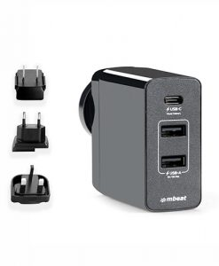MB-CHGR-PD45-mbeat® Gorilla Power 45W USB-C Power Delivery (PD 2.0) and Dual USB-A World Travel Charger