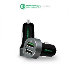 MB-CHGR-QBS-mbeat® QuickBoost USB 2.0 Dual Port Car Charger - Certified Qualcomm Quick Charge 2.0 technology /Fast Charging/Samsung Galaxy Note Apple iPhone iPad