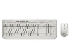 APB-00022-Microsoft Wired Desktop 600 White USB White Mouse & Keyboard Retail Pack