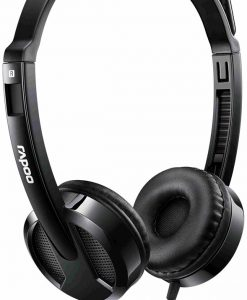 H100 Black-RAPOO H100 Wired Stereo Headsets - HD Voice Rotary Microphone Volume Adjustment 3.5mm (LS)