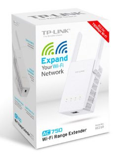 RE210-TP-Link RE210 AC750 Wi-Fi Range Extender 2.4GHz (300Mbps) 5GHz (433Mbps) 1x1Gbps LAN 802.11ac 2x antennas wall-mounted up to 750Mbps