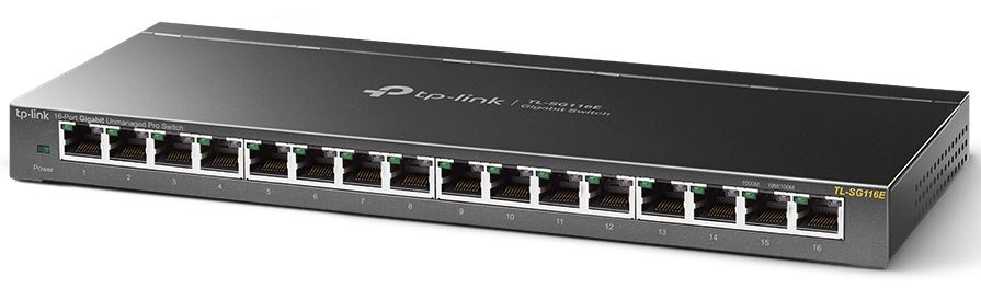 TL-SG116E-TP-Link TL-SG116E 16-Port Gigabit Unmanaged Pro Switch Desktop/Wall Mounting L2 Features 32xVLAN 32Gbps Capacity 23.81Mpps 8K MAC 4.1Mb Buffer Fanless