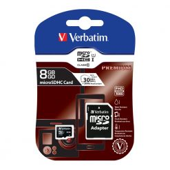 44081-Verbatim Micro SDHC 8GB (Class 10) with Adaptor. Up to 45MB/Sec 300X read speed (LS) > FMV-44082