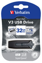 49173-Verbatim 32GB V3 USB3.0 Grey Store'n'Go V3; Retractable