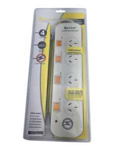 PHX-422TL-Sansai 4-Way Power Board (422TL) with Individual Switches and Surge Protection inc. Phone Line