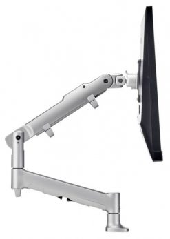 AWMS-DBF-S-Atdec AWM Single monitor arm solution combining one dynamic arm on a single base with F Clamp fixing in silver