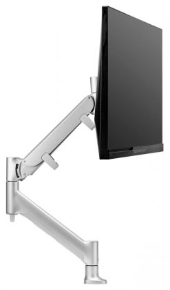 AWMS-HXB-H-S-Atdec AWM HD Single monitor mount. Dynamic monitor arm desk mount base with HD F-Clamp. Includes in-built 180° rotation limiter. Silver
