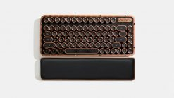 MK-RCK-L-03-US-AZIO RETRO CLASSIC COMPACT Vintage Typewriter Bluetooth & USB Backlit Mechanical Keyboard - Alloy Leather Trim ARTISAN - USB-C Charge/Dual USB+BT