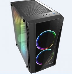 XM-91-Casecom Gamming XM-91 Front & Side Transparent Temper glass  Micro ATX with no PSU-has 2x 12CM 18 LED fans  6 colours Single ring