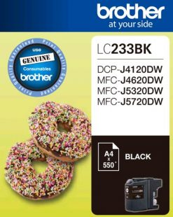 LC233BK-Brother LC-233BK Black Ink 550 Page/For J4120/4620/5720DW (LS)