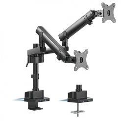 "LDT20-C024UP-Brateck  Dual Monitor Aluminum Slim Pole Held Mechanincal Spring Monitor Arm for most 17""~32"" Monitors"