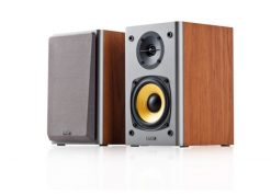 R1000T4-BROWN-Edifier R1000T4 Ultra-Stylish Active Bookself Speaker - Uncompromising Sound Quality for Home Entertainment Theatre - 4inch Bass Driver Speakers BROWN