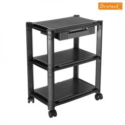 AMS-5L-Brateck Height-Adjustable Modular Multi Purpose Smart Cart XL with Three-Tier and Drawer  13''-32'' Monitors Weight Capacity 10kg per layer