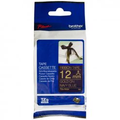 TZE-RN34-BROTHER RIBBON CONSUMABLE GOLD ON NAVY BLUE 12MM X 4M