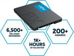 """CT1000BX500SSD1-Crucial BX500 1TB 2.5"""" SATA3 6Gb/s SSD - 3D NAND 540/500MB/s 7mm 1.5 mil MTBF 3yr wty Acronis True Image Solid State Drive ~CT960BX500SSD1"""
