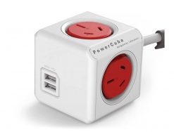 5404/AUEUPCRED-ALLOCACOC POWERCUBE Extended 4 Outlets with 2 USB 3M - Red (LS)