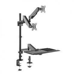 DWS20-C02-Brateck Pole Held Floating Sit-Stand Desk Converter with Dual Monitor Mount