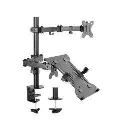 "LDT12-C1M2KN-Brateck Economical Double Joint Articulating Steel Monitor Arm with Laptop Holder Fit Most 13""-32"" Monitors"