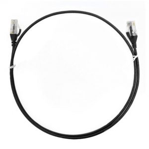 8ware-CAT6THINBK-025M-8ware CAT6 Ultra Thin Slim Cable 0.25m / 25cm - Black Color Premium RJ45 Ethernet Network LAN UTP Patch Cord 26AWG for Data Only