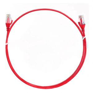8ware-CAT6THINRD-025-8ware CAT6 Ultra Thin Slim Cable 0.25m / 25cm - Red Color Premium RJ45 Ethernet Network LAN UTP Patch Cord 26AWG for Data Only