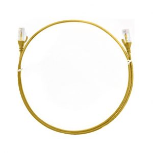 8ware-CAT6THINYE-025M-8ware CAT6 Ultra Thin Slim Cable 0.25m / 25cm - Yellow Color Premium RJ45 Ethernet Network LAN UTP Patch Cord 26AWG for Data Only