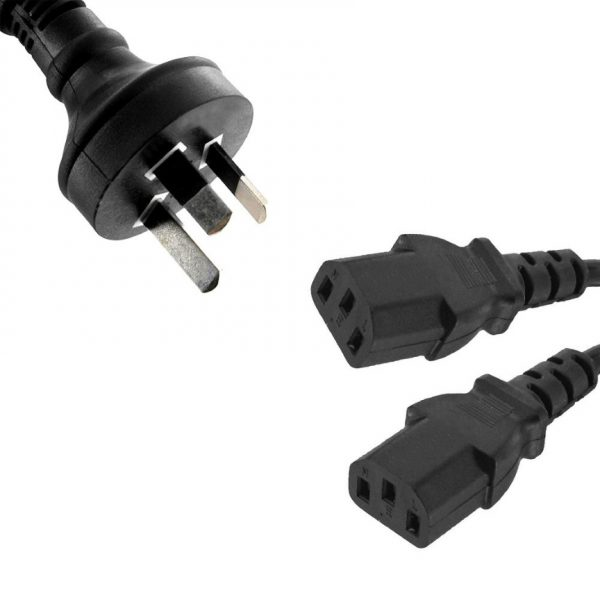 8ware-RC-3085AU-030-8ware 3m 10amp Y Split Power Cable with AU/NZ 3-pin Male Plug 2xIEC F C13 Socket  Cord for PC  Monitor to Wall Power Socket ~CBPOWERY
