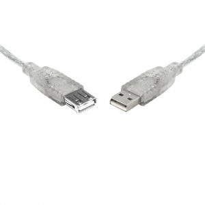 8ware-UC-2000AAE-8Ware USB 2.0 Extension Cable 0.25m 25cm A to A Male to Female Transparent Metal Sheath Cable